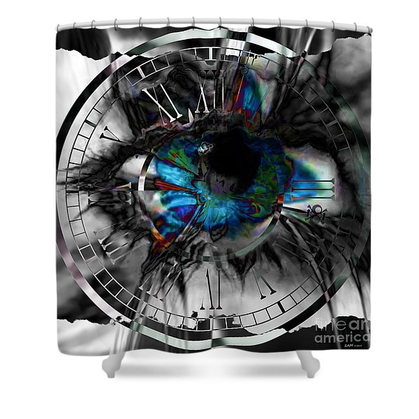 Worry The Clock Shower Curtain by Elizabeth McTaggart