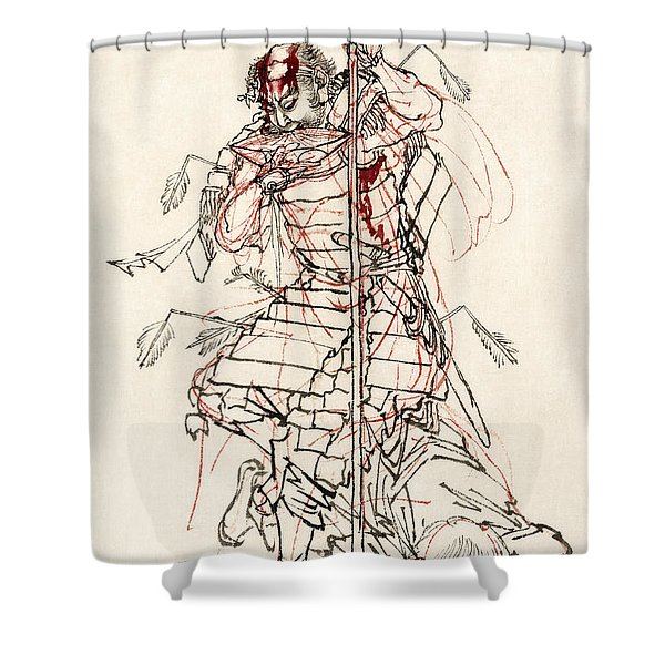 WOUNDED SAMURAI DRINKING SAKE c. 1870 Shower Curtain by Daniel Hagerman