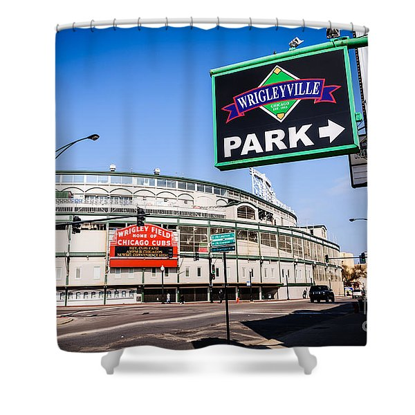 Wrigleyville Sign and Wrigley Field in Chicago Shower Curtain by Paul Velgos