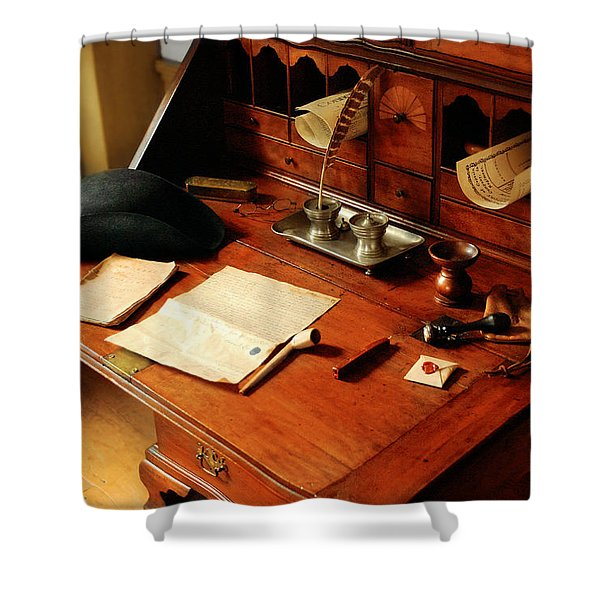 Writer - The desk of a gentleman  Shower Curtain by Mike Savad