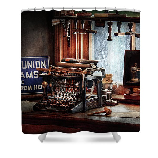 Writer - Typewriter - The aspiring writer Shower Curtain by Mike Savad