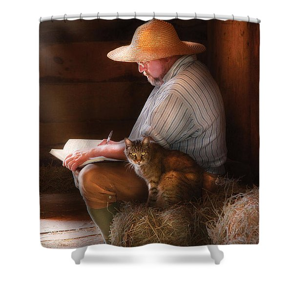 Writer - Writing in my Journal Shower Curtain by Mike Savad