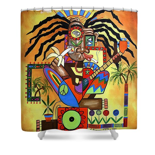 Ya Mon 2 No Steal Drums Shower Curtain by Anthony Falbo