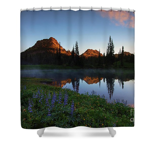 Yakima Peak Sunrise Shower Curtain by Mike  Dawson