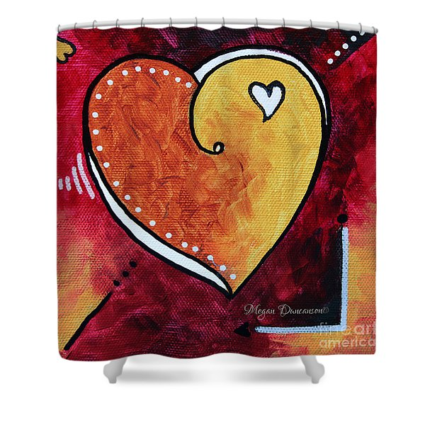 Yellow Red Orange Heart Love Painting Pop Art Love by Megan Duncanson Shower Curtain by Megan Duncanson