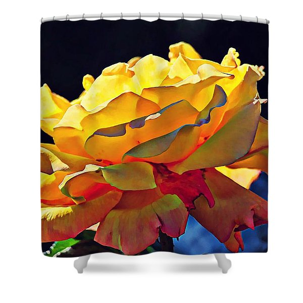 Yellow Rose Series - Crispy Shower Curtain by Lilia D