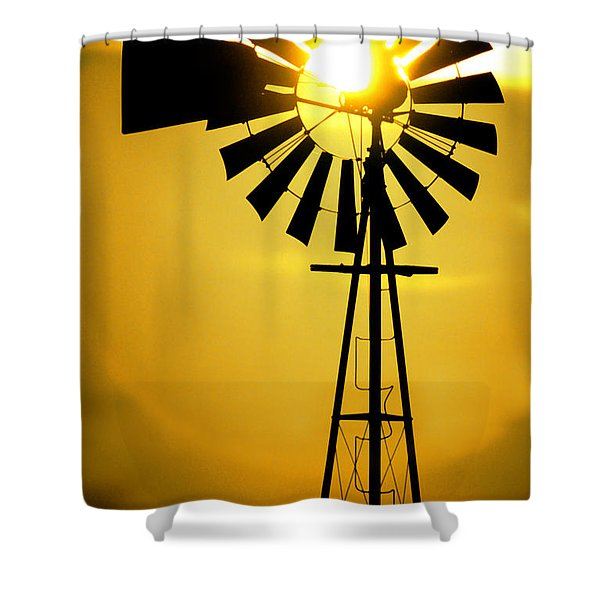 Yellow Wind Shower Curtain by Jerry McElroy