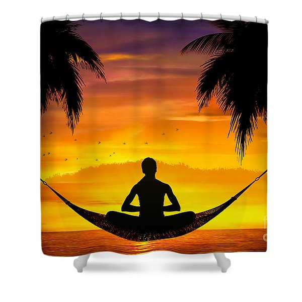 Yoga At Sunset Shower Curtain by Bedros Awak