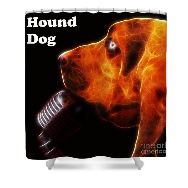 You Ain't Nothing But A Hound Dog - Dark - Electric - With Text Shower Curtain by Wingsdomain Art and Photography