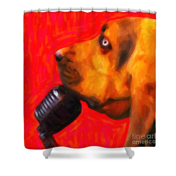 You Ain't Nothing But A Hound Dog - Red - Painterly Shower Curtain by Wingsdomain Art and Photography