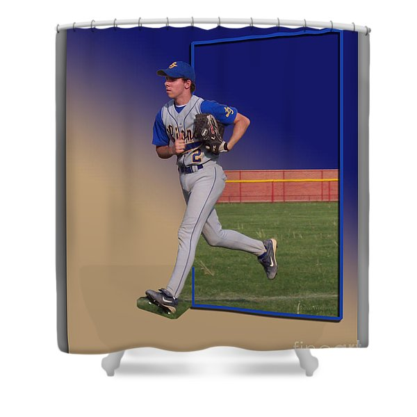 Young Baseball Athlete Shower Curtain by Thomas Woolworth