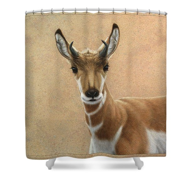 Young Pronghorn Shower Curtain by James W Johnson