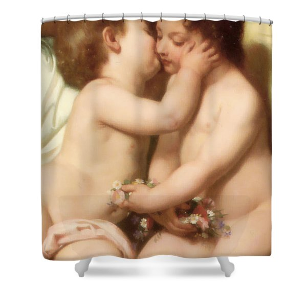 Young woman contemplating two embracing children Detail II Shower Curtain by William Bouguereau