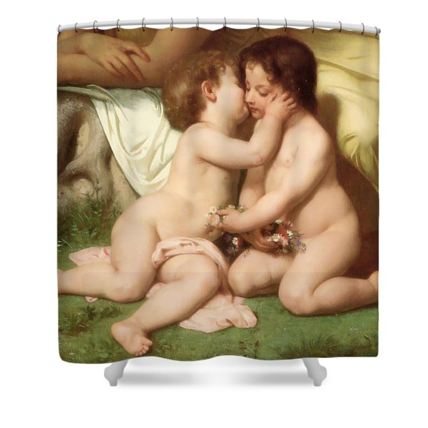 Young woman contemplating two embracing children detail Shower Curtain by William Bouguereau