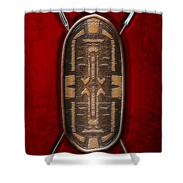 Zande War Shield with Spears on Red Velvet  Shower Curtain by Serge Averbukh