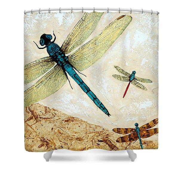 Zen Flight - Dragonfly Art By Sharon Cummings Shower Curtain by Sharon Cummings