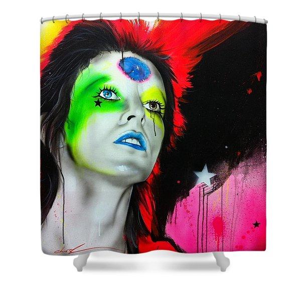 'ziggy Played Guitar' Shower Curtain by Christian Chapman Art