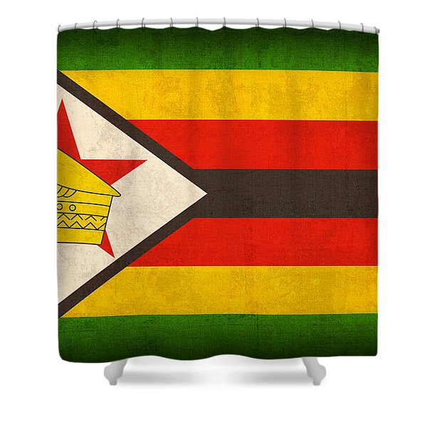 Zimbabwe Flag Distressed Vintage Finish Shower Curtain by Design Turnpike