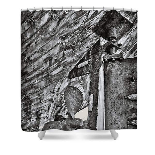 boat propeller Shower Curtain by Stylianos Kleanthous
