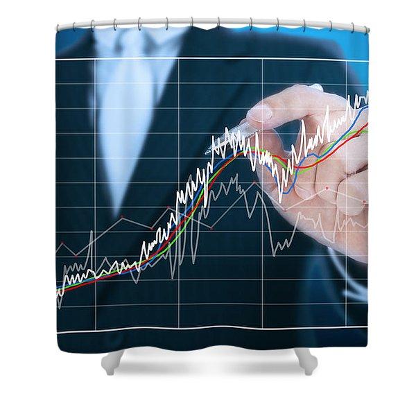 businessman writing graph of stock market  Shower Curtain by Setsiri Silapasuwanchai