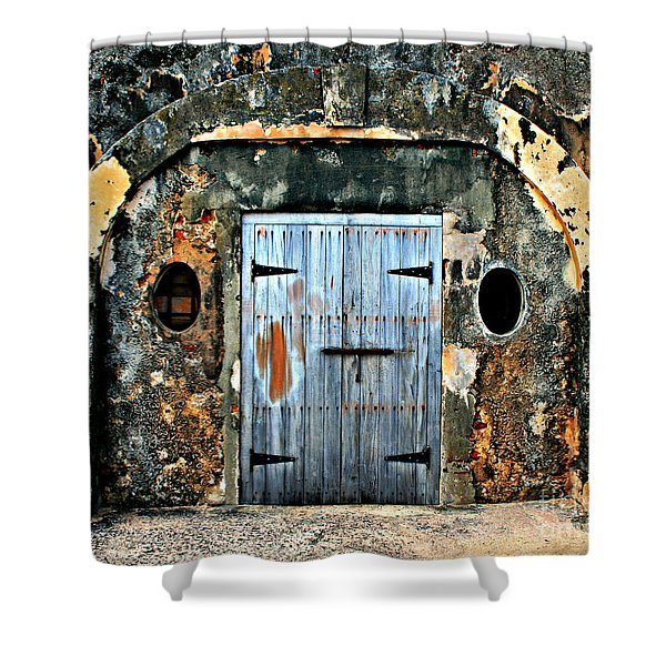 Old Wooden Doors Shower Curtain by Perry Webster