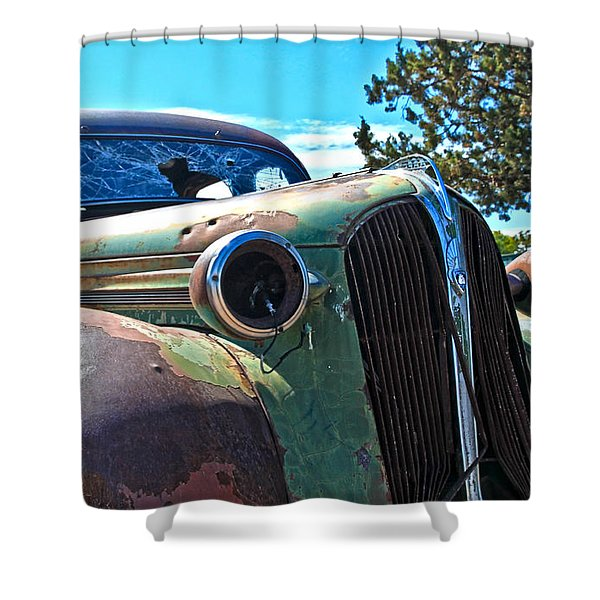 1937 Plymouth Shower Curtain by Steve McKinzie