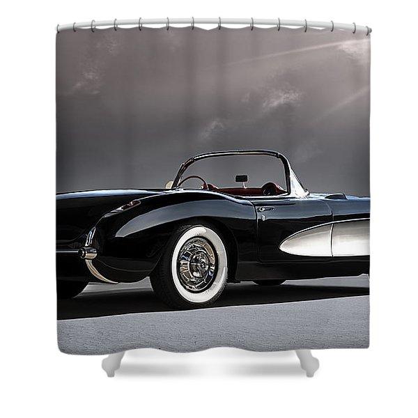 '56 Corvette Convertible Shower Curtain by Douglas Pittman