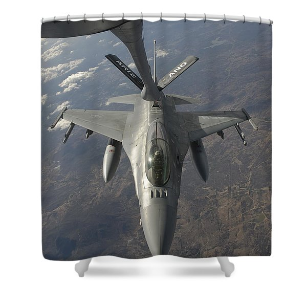 A Chilean Air Force F-16 Refuels Shower Curtain by Giovanni Colla
