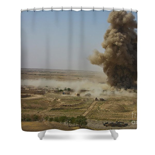 A Cloud Of Dust And Debris Rises Shower Curtain by Stocktrek Images