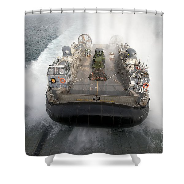 A Landing Craft Air Cushion Enters Shower Curtain by Stocktrek Images