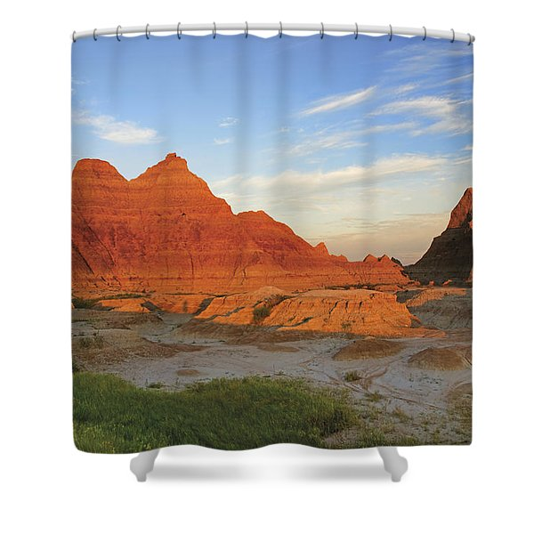 A Red Sunrise Illuminates The Hills In Shower Curtain by Philippe Widling