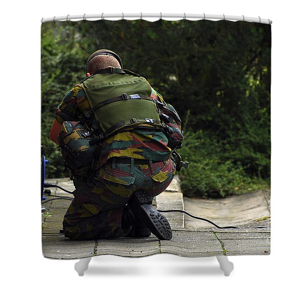 A Soldier Of The Belgian Army Shower Curtain by Luc De Jaeger