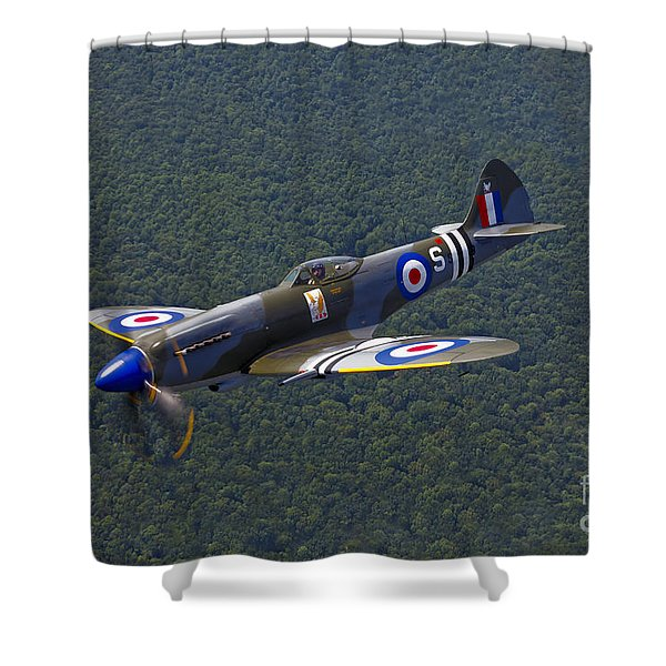 A Supermarine Spitfire Mk-18 In Flight Shower Curtain by Scott Germain