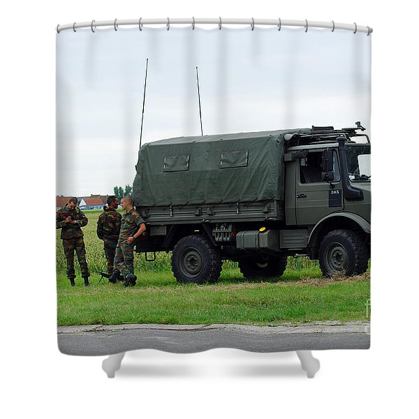 A Unimog Vehicle Of The Belgian Army Shower Curtain by Luc De Jaeger