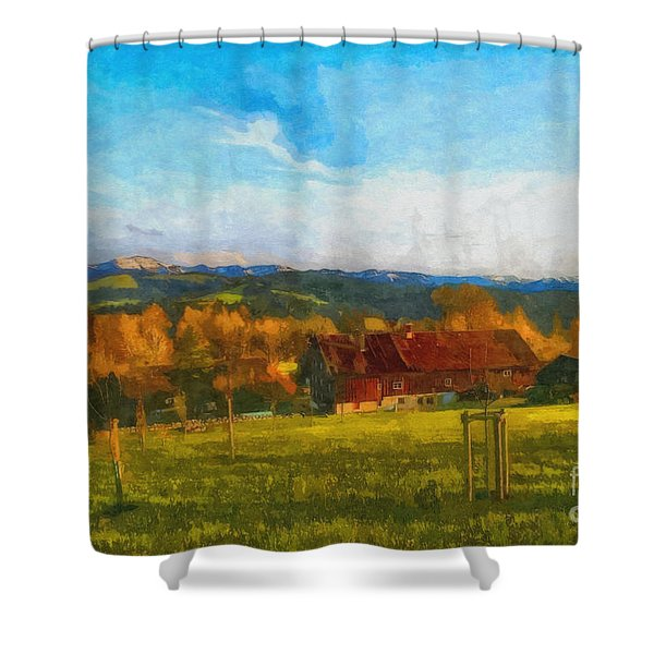 Alpine View Shower Curtain by Jutta Maria Pusl