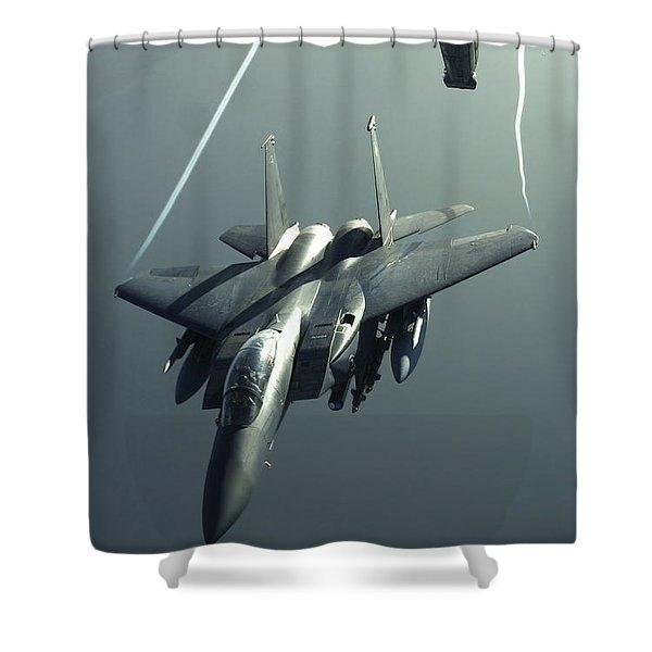 An F-15e Strike Eagle Flies Over Iraq Shower Curtain by Stocktrek Images