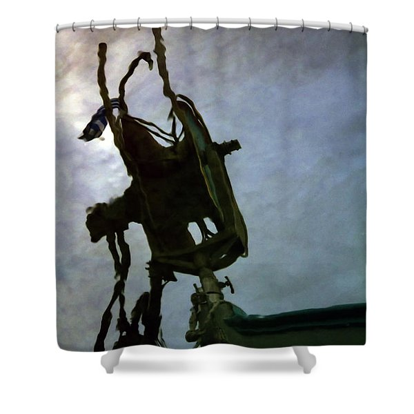 boat reflections in oily sea Shower Curtain by Stylianos Kleanthous