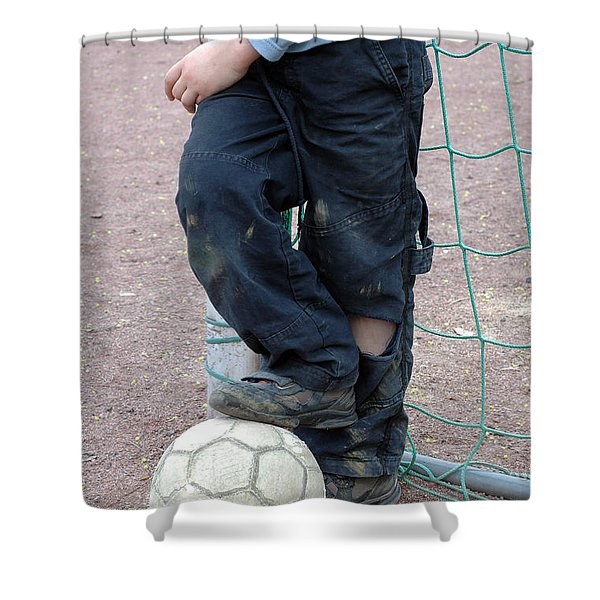 Boy With Soccer Ball Shower Curtain by Matthias Hauser