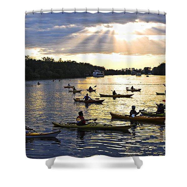 Canoeing Shower Curtain by Elena Elisseeva