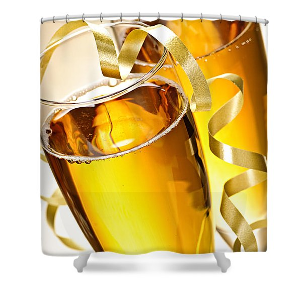 Champagne glasses Shower Curtain by Elena Elisseeva