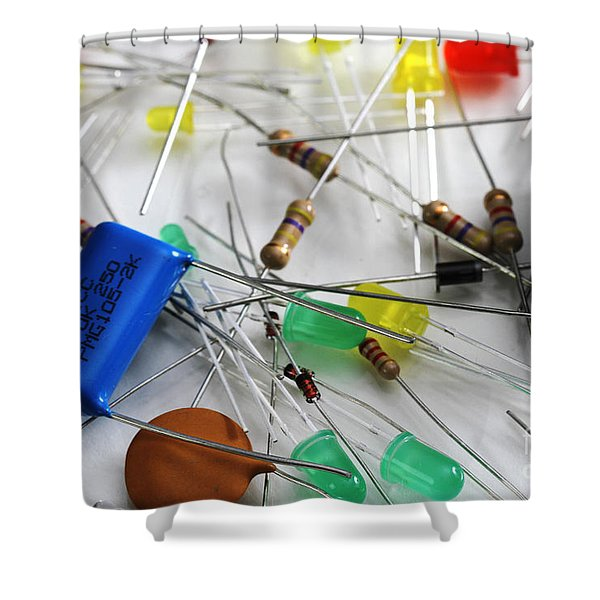 Electronic Components Shower Curtain by Photo Researchers, Inc.
