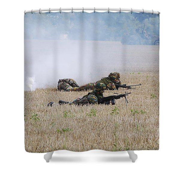 Evacuation Of A Wounded Soldier By An Shower Curtain by Luc De Jaeger