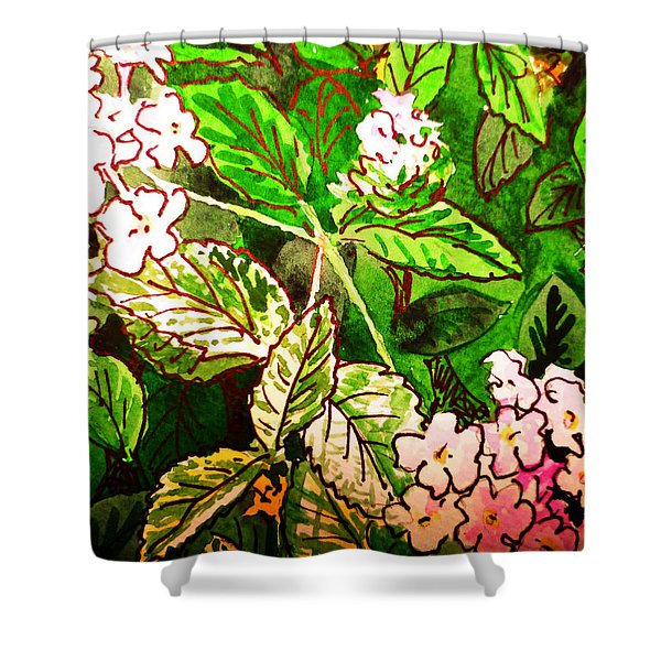 Garden Flowers Sketchbook Project Down My Street Shower Curtain by Irina Sztukowski