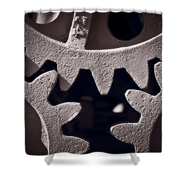 Gears Number 2 Shower Curtain by Steve Gadomski