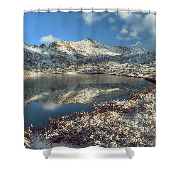 Geissler Mountain And Linkins Lake Shower Curtain by Tim Fitzharris
