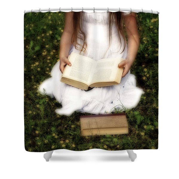 Girl Is Reading A Book Shower Curtain by Joana Kruse