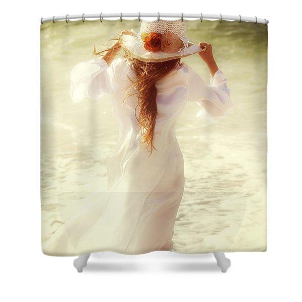 girl with sun hat Shower Curtain by Joana Kruse
