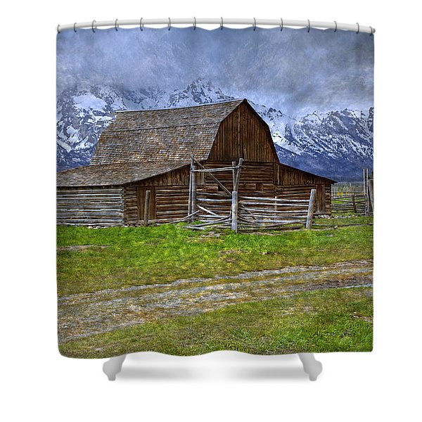 Grand Teton Iconic Mormon Barn Fence Spring Storm Clouds Shower Curtain by John Stephens