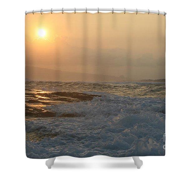 He Inoa Wehi No Hookipa Shower Curtain by Sharon Mau