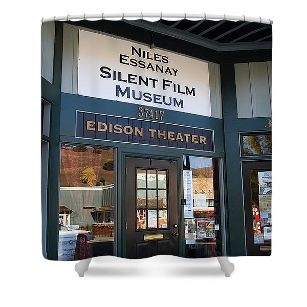 Historic Niles District in California Near Fremont . Niles Essanay Silent Film Museum Edison Theater Shower Curtain by Wingsdomain Art and Photography